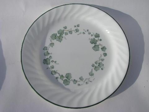 Green Callaway Ivy Pattern Corelle Corning Glass Dishes