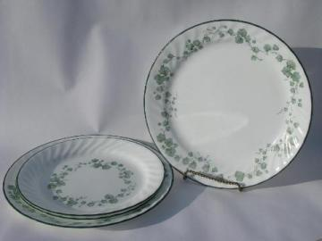 green Callaway Ivy pattern Corelle Corning glass dishes, dinner & salad plates lot
