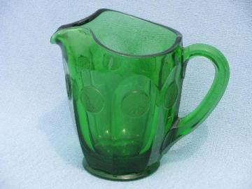 green Fostoria coin glass pattern quart pitcher, vintage green color