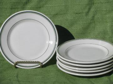 green band white ironstone restaurant ware, 1945 Warwick china plates