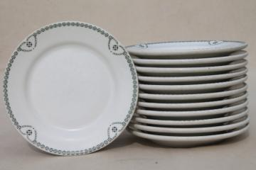 green border white ironstone sandwich or pie plates, vintage railroad / restaurant china