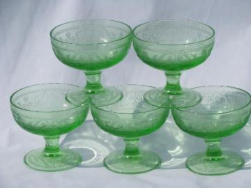 green cloverleaf clover pattern depression glass, vintage sherbet dishes