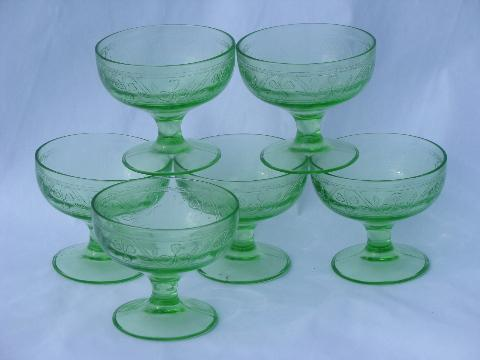 Green Cloverleaf Pattern Depression Glass Six Vintage