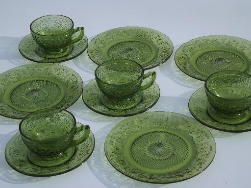 S Green Glass Dinner Sets