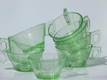 green depression glass tea cups, vintage US Glass pinwheel scroll pattern