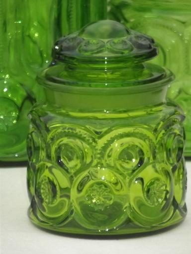 green glass Moon & Stars pattern kitchen canisters, vintage ...