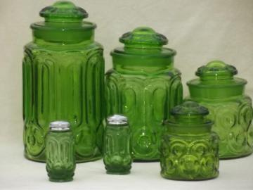 green glass Moon & Stars pattern kitchen canisters, vintage canister set