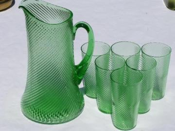 green glass lemonade / iced tea pitcher and glasses, vintage Mexico