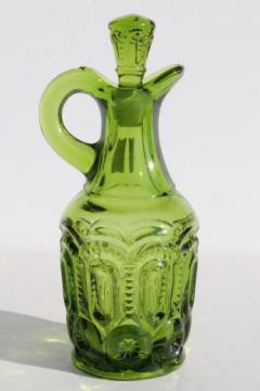 green glass moon & star pattern cruet pitcher w/ stopper, vintage L E Smith
