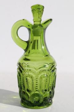 green glass moon & star pattern cruet pitcher w/ stopper, vintage L E Smith