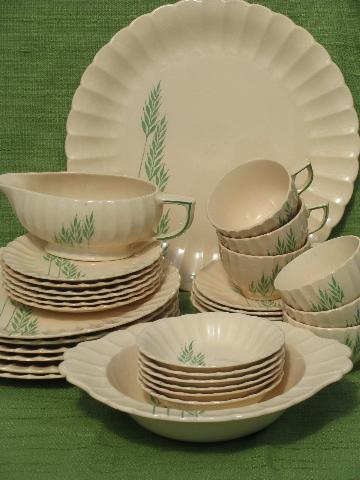 green grasses vintage china dishes for 6, old Leigh Ware pottery