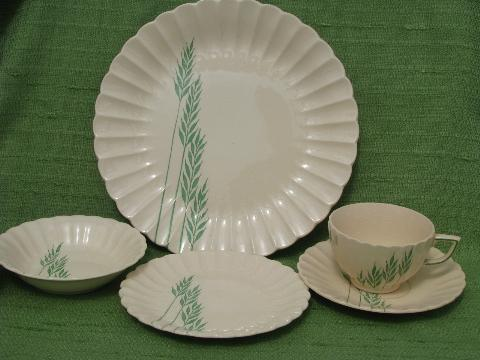 Green Grasses Vintage China Dishes For 6 Old Leigh Ware