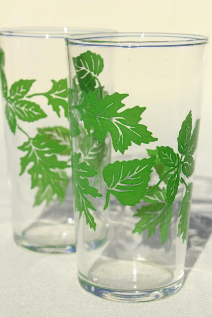 green leaves pattern vintage drinking glasses, vintage swanky swigs, 40s 50s kitchen glassware