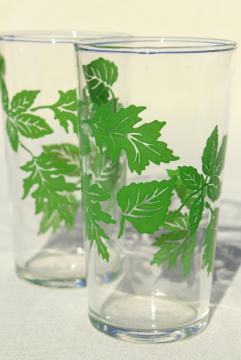 green leaves pattern vintage drinking glasses, vintage swanky swigs, 40s 50s kitchen glassware