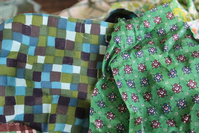 green prints 30s 40s 50s vintage cotton scraps bundle for quilting sewing craft projects
