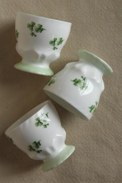 green shamrock clover egg cups, vintage fine bone china Queen's England