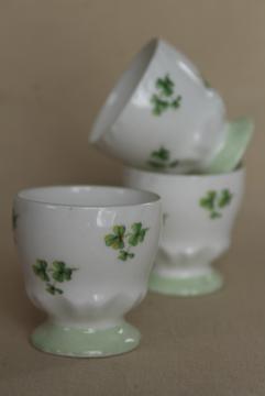 green shamrock clover egg cups, vintage fine bone china Queen's England