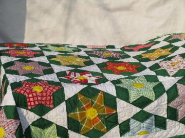 green / white star pattern patchwork quilt, hand-stitched, 1950s vintage cotton fabric