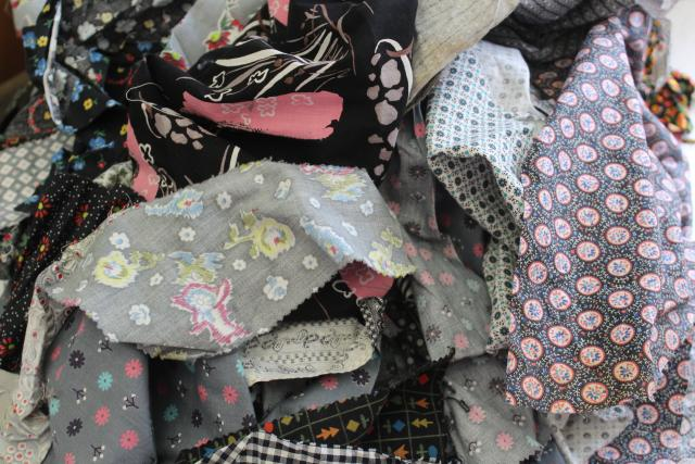 grey - black prints 30s 40s 50s vintage cotton scraps bundle for quilting sewing craft projects