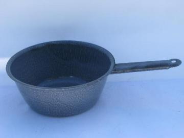 grey spatterware graniteware enamel pan, vintage camping enamelware