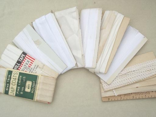 grubby antique white sewing trims for primitive vintage needlework