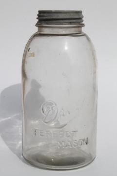 half gallon vintage Drey Mason jar, large pickle / fruit canning jar w/ metal lid