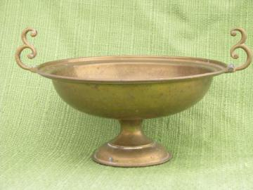 hammered brass hand-wrought bowl w/ handles, vintage pedestal dish