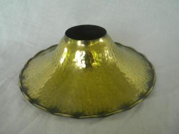 hammered brass replacement shade for kerosene or oil lamp chimney