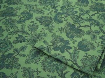 hand block print vintage cotton fabric, retro 50s 60s flowers and leaves