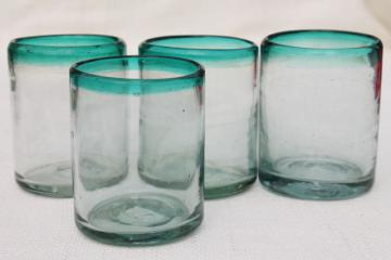 hand blown Mexican glass drinking glasses,set of 4 aqua band heavy glass tumblers
