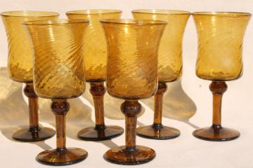 hand blown amber glass wine glasses, vintage Mexican art glass swirl spiral goblets