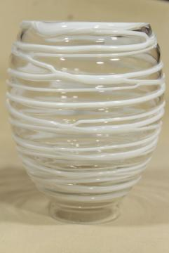 hand blown art glass lamp shade, string squiggle white on clear glass, mod vintage