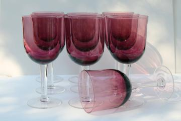 hand blown glass goblets, large wine or water glasses amethyst w/ clear glass stems