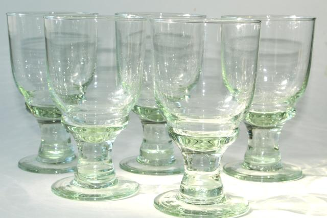 hand blown glass wine glasses or water goblets eco friendly green recycled glass - Water Goblets