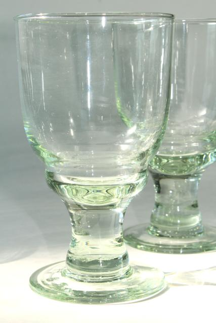 hand blown glass wine glasses or water goblets eco friendly green recycled glass