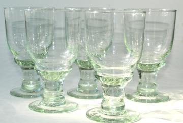 hand blown glass wine glasses or water goblets, eco friendly green recycled glass