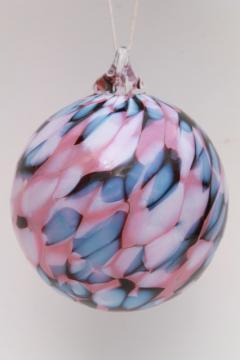 hand blown glass witch ball, art glass suncatcher ornament blue & rose pink glass