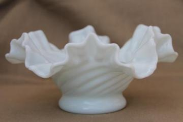 hand blown milk glass bowl, crimped ruffle edge basket shape swirled glass dish