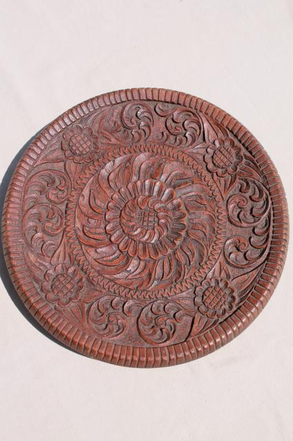 hand carved walnut wood tray, plate or wall hanging plaque w/ folk art flowers