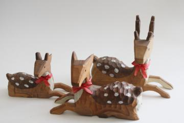 hand carved wood deer, buck, doe, fawn family - rustic decor for cabin or woodland Christmas