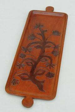 hand carved wood tray made in Haiti, tree of life retro flowering tree