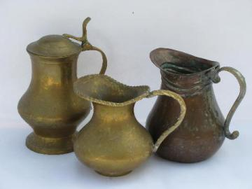 hand crafted vintage metal pitchers, wrought copper, brass pitcher lot