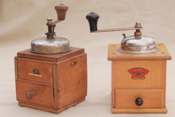 hand crank coffee grinder mills, primitive vintage kitchen tools collection