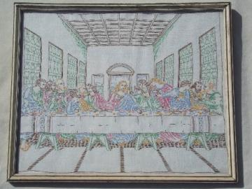hand embroidered Last Supper, 1950s vintage framed needlework picture