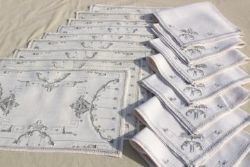 hand embroidered hemstitched linen placemats & napkins, 60s vintage Madeira or Italian handwork