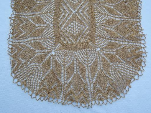 Knitted Table Runner Lace Pattern : hand knit cafe au lait lace table runner, vintage knitted cotton thread lace