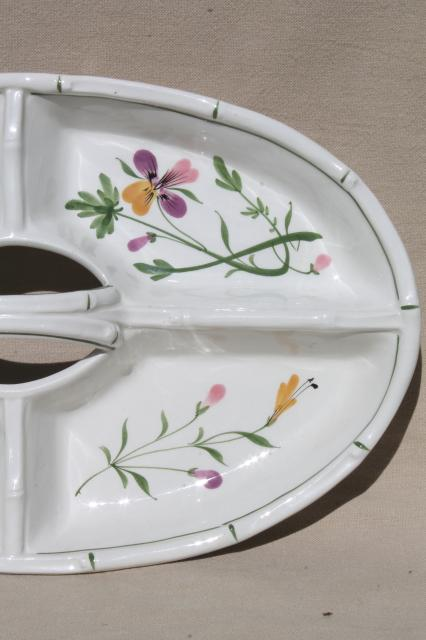 hand painted Italian pottery tray w/ center handle, johnny jump up viola pansies floral