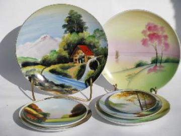 hand painted Japan, lot of vintage china plates, landscape scenes