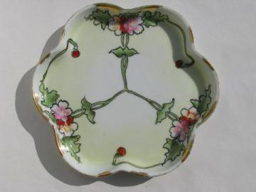 hand painted Japan vintage flower form china vanity pin tray
