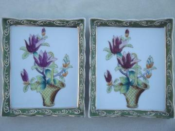 hand painted Japanese flower tile wall plaques, framed floral prints